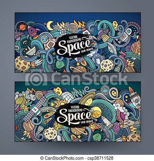cute, espaço, mão, doodles, desenhado, bandeiras, caricatura - csp38711528