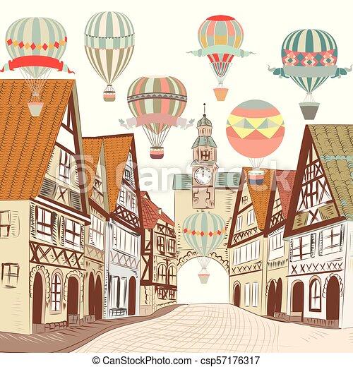 cute, europian, antigas, card.eps, boutique, ilustração, ar, casas, balloons., bandeira, ou - csp57176317