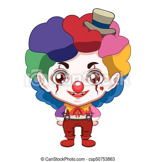 Cute evil clown illustration - csp50753863
