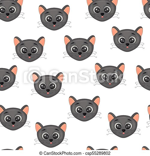 Cute Face A Head Of Cats Colorful Seamless Pattern Background