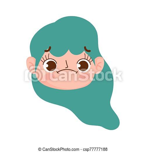 cute face girl with green hair and expression facial - csp77777188