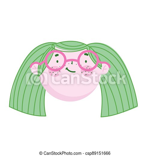 cute face woman with glasses cartoon character children - csp89151666