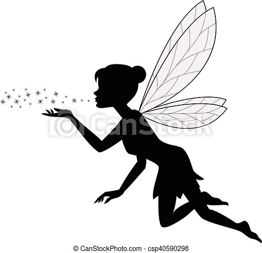 Vector illustration of cute fairy flying.