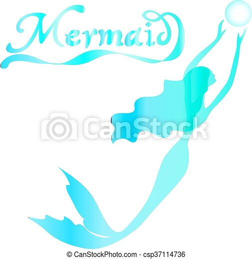 cute fairy swimming mermaid with long curly hair silhouette vector illustration of turquoise on a white background with the words mermaid - csp37114736