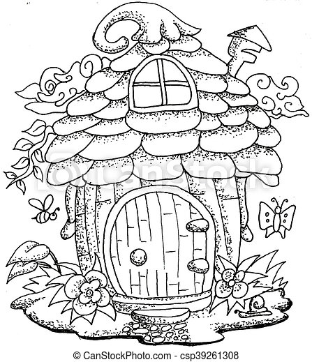 Cute fairy tale house cute fairy tale town doodle with for Cute fairy coloring pages