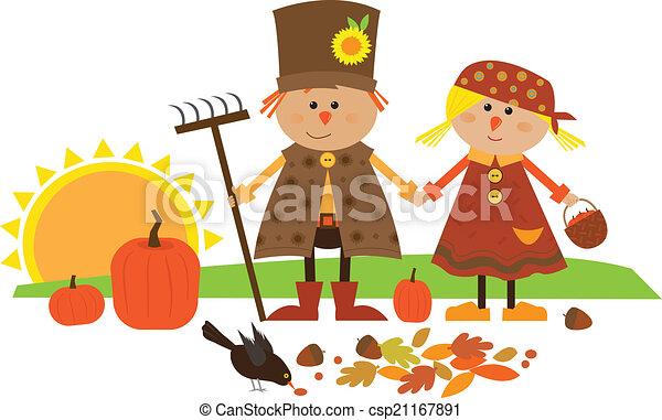 Cute Fall Characters - csp21167891