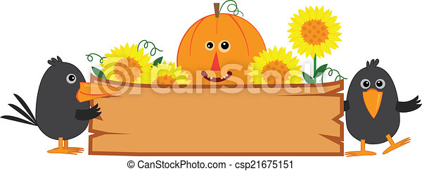 Cute Fall Sign Banner With Pumpkin Sunflowers