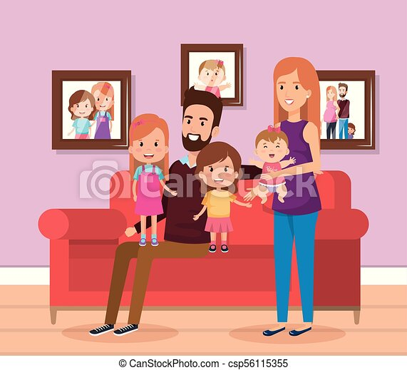 Cute family happy in the living room characters vector... clipart ...