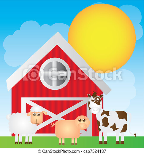 Cute Farm Cartoon With Animals Over Landscape Background Vector