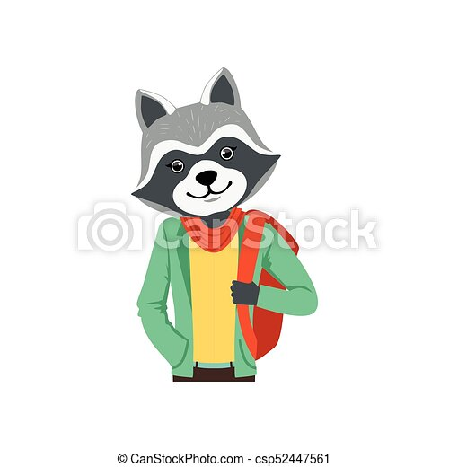 Cute fashion racoon guy character with backpack, hipster ...