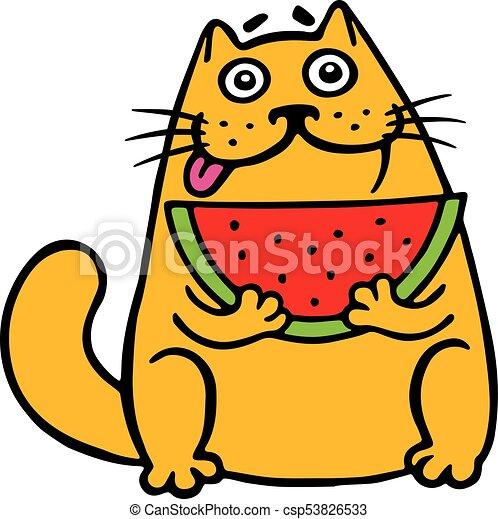 cute fat cat eats watermelon cat funny cartoon cool vectors rh canstockphoto com fat cat clipart images fat cat clipart