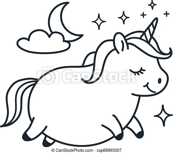 Cute fat unicorn doodle cartoon character vector illustration. Simple line black and white icon isolated on white. Funny coloring book page, kids decor, fantasy, dreams, sleep, body positive theme. - csp68993307