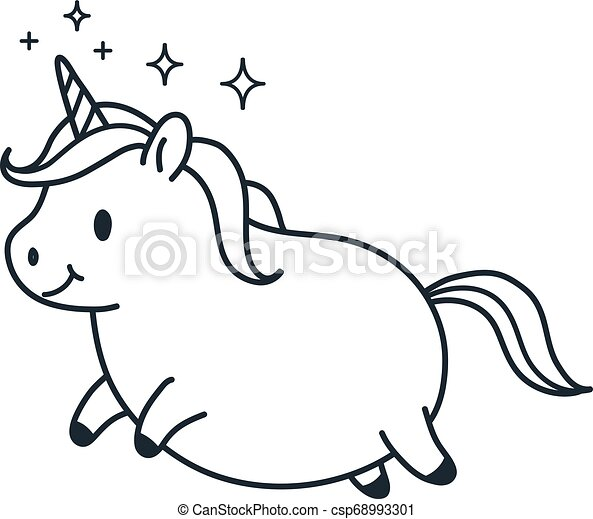 Cute fat unicorn simple doodle cartoon character vector illustration. Simple line black and white icon isolated on white. Funny coloring book page, kids decor, fantasy, dreams, body positive theme. - csp68993301