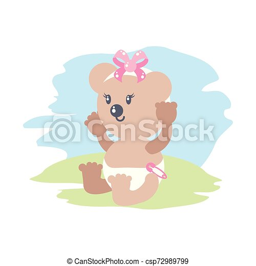 cute female bear baby animal isolated icon - csp72989799