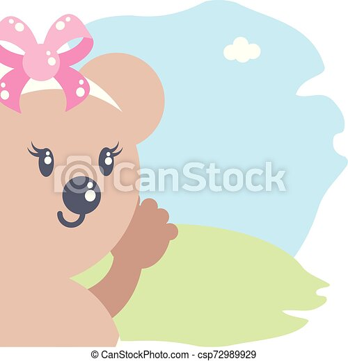 cute female bear baby animal isolated icon - csp72989929