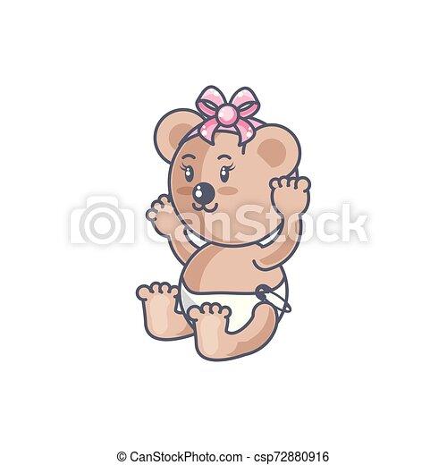cute female bear baby animal isolated icon - csp72880916