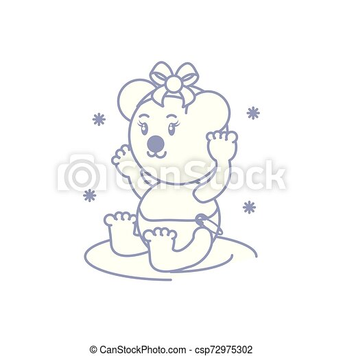 cute female bear baby animal isolated icon - csp72975302