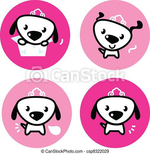 cute female dog with crown pink icons or buttons set little dog rh canstockphoto com