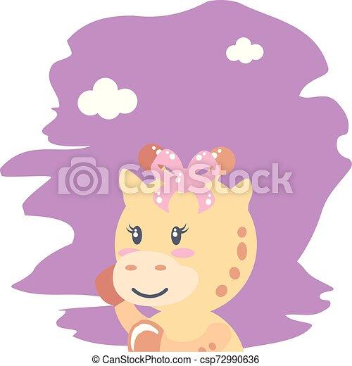 cute female giraffe baby animal isolated icon - csp72990636