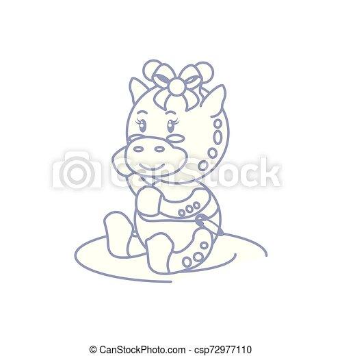 cute female giraffe baby animal isolated icon - csp72977110