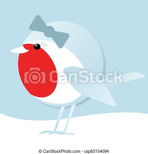 cute female robin in the snow - csp63154094