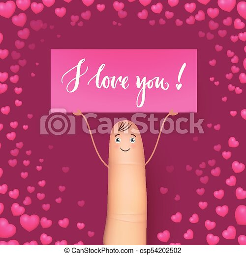 Cute Finger Holding Card Miss You Realistic Heart Background