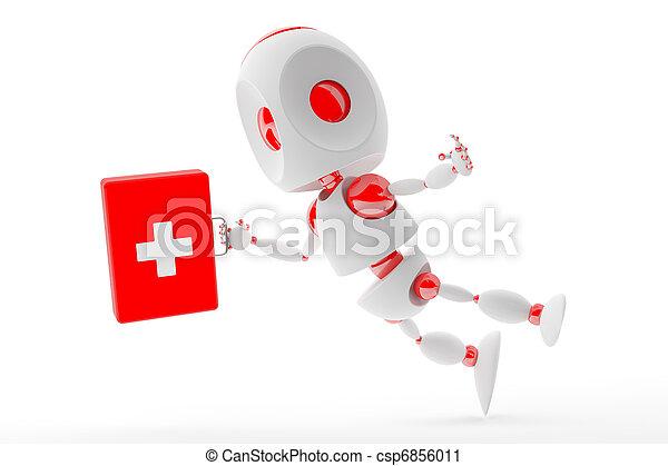 Cute first aid kit robot - csp6856011