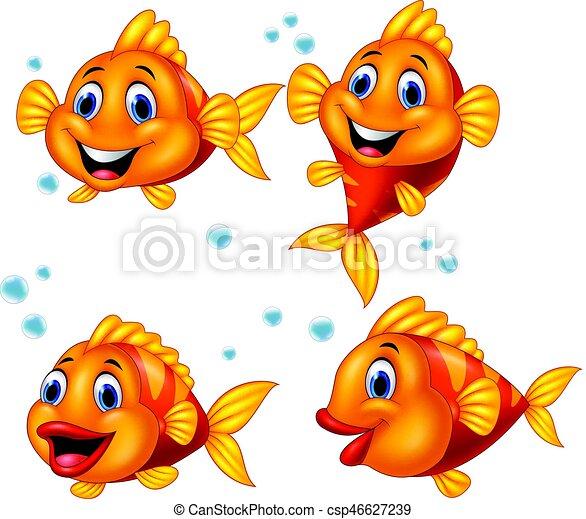Cute fish cartoon collection set - csp46627239