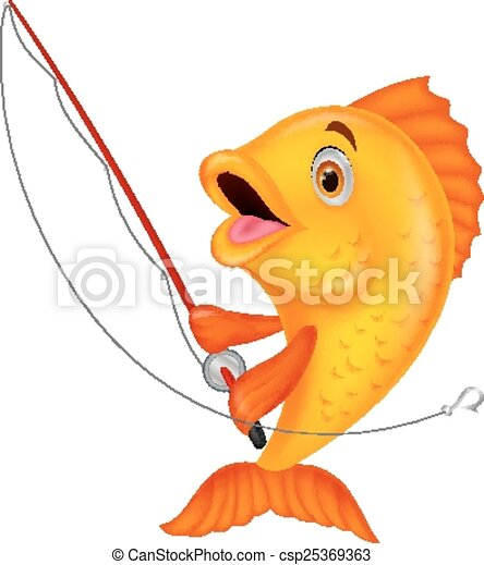vector illustration of cute fish cartoon holding fishing rod clip rh canstockphoto com fly fishing rod clipart fly fishing rod clipart