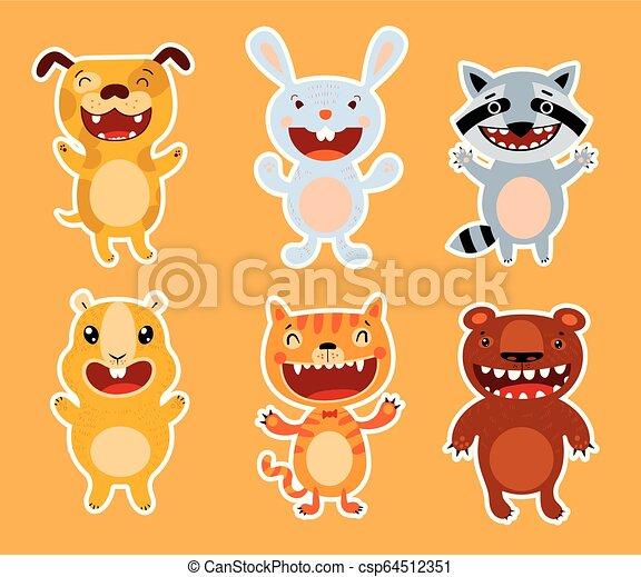 Cute flat animals. Dog, rabbit, raccoon, guinea pig, cat, bear - csp64512351
