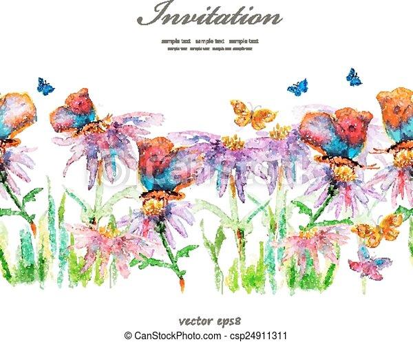 cute floral border. watercolor - csp24911311