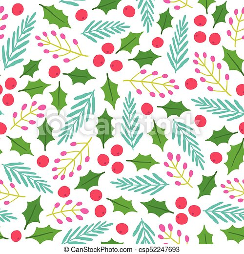 Christmas Background Vector.Cute Floral Christmas Background