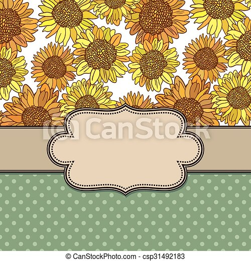 Cute floral frame background - csp31492183