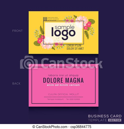 Cute Floral Pattern Business Card Name Card Design Cute Floral - Name card design template