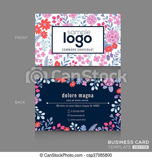 Cute floral pattern business card name card design template cute floral pattern business card name card design csp37085800 cheaphphosting Image collections