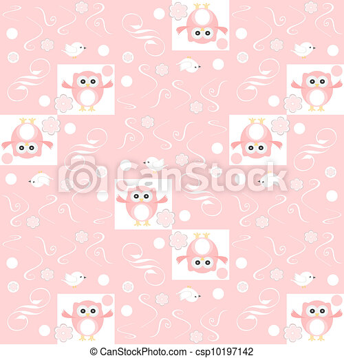 Cute floral seamless background with pink owls - csp10197142