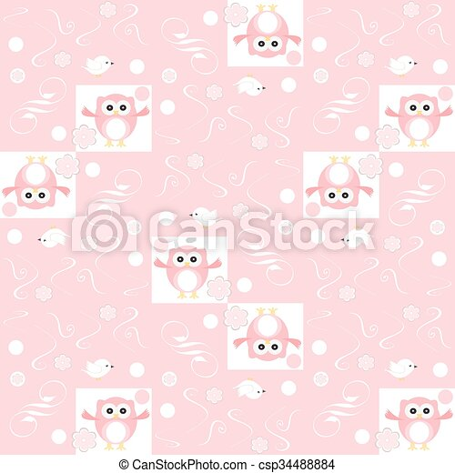 Cute floral seamless background with pink owls - csp34488884