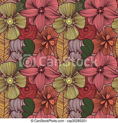 Cute Floral Seamless Pattern In Vintage Colorsbright Can Be Used For Wallpaper Fills Web Page Backgroundsurface Textures