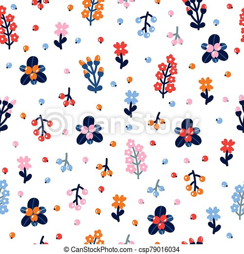 Cute floral seamless pattern with flowers and berries. Scandinavian style design. Folk background - csp79016034