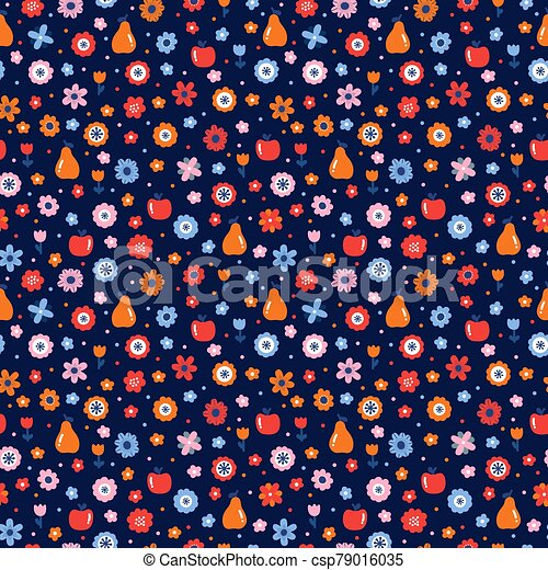 Cute floral seamless pattern with flowers and fruits. Scandinavian style design. Folk background - csp79016035