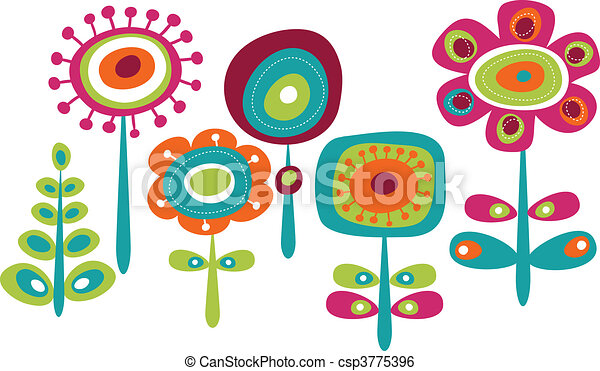 cute, flores, coloridos - csp3775396