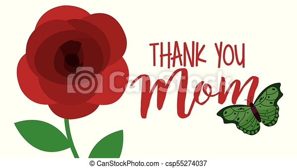 Cute flower and butterfly thank you mom banner vector ...