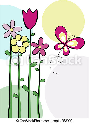 cute flowers and butterfly vector illustration of tall vector rh canstockphoto com flowers and butterflies clipart images flowers and butterflies clipart