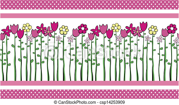Cute Flowers Border Vector