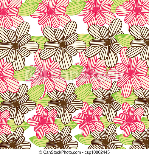 Pink And Brown Cute Flowers Background Vector Illustration