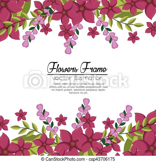 Cute Flowers Frame Background Vector Illustration Design