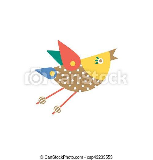cute flying bird icon freehand drawn fancy emblem in cartoon style