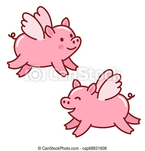Cute Flying Pigs Two Cute Cartoon Flying Piggies With Wings When Pigs Fly Drawing Isolated Vector Illustration