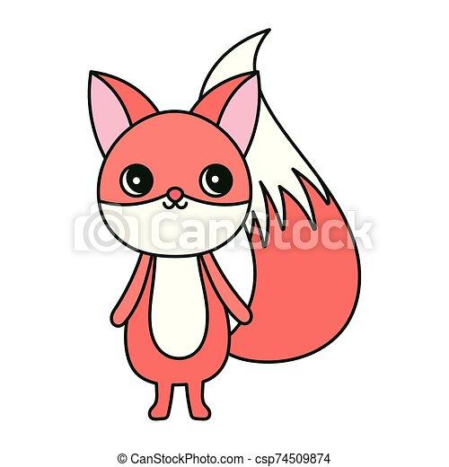 cute fox cartoon character on white background - csp74509874