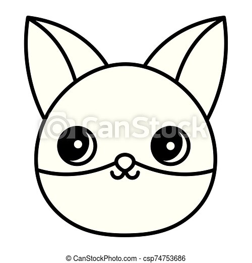 cute fox head animal cartoon thick line - csp74753686